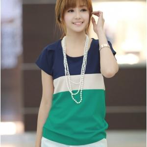 เสื้อแฟชั่นเกาหลี สีน้ำเงิน ขาว เขียว