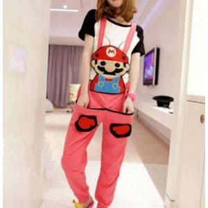 ชุดเอี๊ยม jumpsuit Super Mario เอวยืด พร้อมสายเอี๊ยมแบบถอดได้ สีชมพู