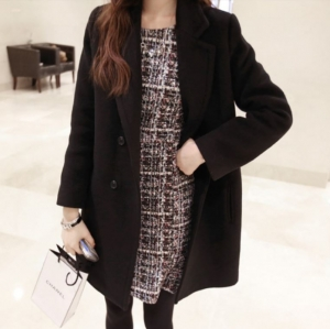 เสื้อโค้ทกันหนาว ทรงยาวสไตล์เกาหลี แบบเรียบง่าย ดูดีสุด ๆ ค่ะ -สีดำ