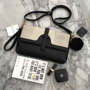 Parfois clutch bag-ทูโทนครีมดำ