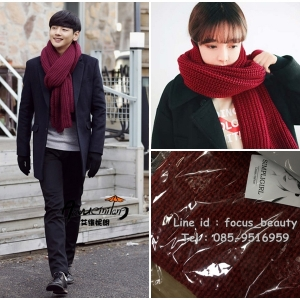 สีแดงเข้ม-ผ้าพันคอไหมพรม สไตล์เกาหลี ใช้ได้ทั้งชาย และหญิง