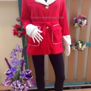เสื้อโค้ทผ้าวูล สีแดงสดใส สไตล์แซนตี้ งานเกรดพรีเมี่ยม