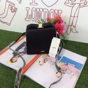 Snidel store top ribbon bag กระเป๋าสะพาย-สีดำ