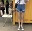 กางเกงยีนส์ขาสั้น แฟชั่นเกาหลี แต่งขาดต่อผ้าตาข่ายเซ็กซี่ thumbnail 6