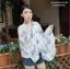 เสื้อคลุมไหล่ ผ้าพันคอ สไตล์เกาหลี ลายใบไม้สีฟ้า thumbnail 4