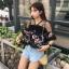 เสื้อครอปแฟชั่นเกาหลี สีดำลายดอกไม้ แต่งระบายซีทรูช่วงบน thumbnail 7