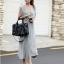 Maxi Dress แม็กซี่เดรสยาว สีเทา โชว์หลัง มาพร้อมเกาะอกสีดำ thumbnail 4