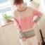 สเวตเตอร์ เสื้อกันหนาวผ้าไหมพรม แขนยาว สีชมพู thumbnail 1