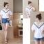 เสื้อแฟชั่นเกาหลี คอวีแต่งลูกไม้โครเชต์ สีขาว thumbnail 6