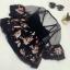 เสื้อครอปแฟชั่นเกาหลี สีดำลายดอกไม้ แต่งระบายซีทรูช่วงบน thumbnail 6