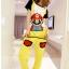 ชุดเอี๊ยม jumpsuit Super Mario เอวยืด พร้อมสายเอี๊ยมแบบถอดได้ สีเหลือง