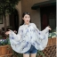 เสื้อคลุมไหล่ ผ้าพันคอ สไตล์เกาหลี ลายใบไม้สีฟ้า thumbnail 2