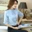 เสื้อเชิ้ตแฟชั่น คอจีบ ระบายแขน มีสายผูกโบว์คอเสื้อ สีฟ้า thumbnail 2