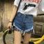 กางเกงยีนส์ขาสั้น แฟชั่นเกาหลี แต่งขาดต่อผ้าตาข่ายเซ็กซี่ thumbnail 5