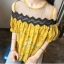 เสื้อแฟชั่นเว้าไหล่สไตล์เกาหลี ซีทรูช่วงอก แต่งลูกไม้ สีเหลืองลายดอกไม้ thumbnail 7