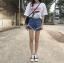 กางเกงยีนส์ขาสั้น แฟชั่นเกาหลี แต่งขาดต่อผ้าตาข่ายเซ็กซี่ thumbnail 8