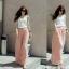กางเกงขายาวแฟชั่นเกาหลี ผ้าชีฟอง สีชมพู thumbnail 1