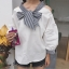 เสื้อแฟชั่นเกาหลี แขนยาวสีขาว แต่งเปิดไหล่ คอเสื้อผูกโบว์ thumbnail 7