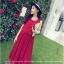 เดรสยาว ผ้าชีฟองอัดพลีท สีแดง