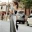 Maxi Dress แม็กซี่เดรสยาว สีเทา โชว์หลัง มาพร้อมเกาะอกสีดำ thumbnail 2