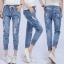 กางเกงยีนส์แฟชั่นเอวยางยึด แต่งขาด จั๊มปลายขา S M L thumbnail 5