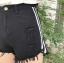 กางเกงยีนส์ขาสั้นสีดำ แต่งแถบข้างสีขาวสองเส้น thumbnail 3