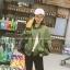 เสื้อคลุมแฟชั่นเกาหลี แจ็คเก็ตซิป สีเขียวทหาร สีขาว