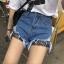 กางเกงยีนส์ขาสั้น แฟชั่นเกาหลี แต่งขาดต่อผ้าตาข่ายเซ็กซี่ thumbnail 7