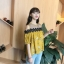 เสื้อแฟชั่นเว้าไหล่สไตล์เกาหลี ซีทรูช่วงอก แต่งลูกไม้ สีเหลืองลายดอกไม้ thumbnail 4