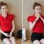 สีแดง-เสื้อแฟชั่น แขนสั้นกลีบบัว คอเสื้อแต่งโบว์ thumbnail 3