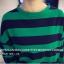 เสื้อแฟชั่นสไตล์เกาหลี แขนยาวแต่งขาดศอก ลายขวาง สีเขียว thumbnail 4
