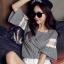 เสื้อแฟชั่นเกาหลี ลายตาราง ต่อแขนผ้าตาข่ายลูกไม้ thumbnail 4