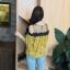 เสื้อแฟชั่นเว้าไหล่สไตล์เกาหลี ซีทรูช่วงอก แต่งลูกไม้ สีเหลืองลายดอกไม้ thumbnail 3
