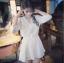 เสื้อแฟชั่น เดรสเชิ้ตคอวีมีปก แขน3ส่วน เอวสม๊อค สีขาว thumbnail 3