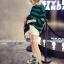 เสื้อแฟชั่นสไตล์เกาหลี แขนยาวแต่งขาดศอก ลายขวาง สีเขียว thumbnail 5