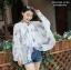 เสื้อคลุมไหล่ ผ้าพันคอ สไตล์เกาหลี ลายใบไม้สีฟ้า thumbnail 1