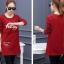 เสื้อยืดแฟชั่นแขนยาว ผ้าหนานิ่มด้านในกำมะหยี่ สีแดง thumbnail 2