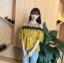 เสื้อแฟชั่นเว้าไหล่สไตล์เกาหลี ซีทรูช่วงอก แต่งลูกไม้ สีเหลืองลายดอกไม้ thumbnail 5