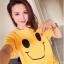 เสื้อยืดแฟชั่น คอกลม แขนสั้น ลายหน้ายิ้ม สีเหลือง thumbnail 1