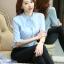 เสื้อเชิ้ตแฟชั่น คอจีบ ระบายแขน มีสายผูกโบว์คอเสื้อ สีฟ้า thumbnail 6
