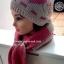 เซ็ต 2 in 1 หมวก+ผ้าพันคอทอไหมพรมผสมวูล สีชมพู งานนำเข้าเกรดพรีเมี่ยม thumbnail 4