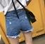 กางเกงยีนส์ขาสั้น แฟชั่นเกาหลี แต่งขาดต่อผ้าตาข่ายเซ็กซี่ thumbnail 2