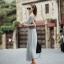 Maxi Dress แม็กซี่เดรสยาว สีเทา โชว์หลัง มาพร้อมเกาะอกสีดำ thumbnail 5