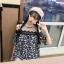 เสื้อแฟชั่นเว้าไหล่สไตล์เกาหลี ซีทรูช่วงอก แต่งลูกไม้ สีน้ำเงินลายดอก thumbnail 3