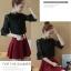 เสื้อแฟชั่นเกาหลี ผ้าลูกไม้ แขนต่อระบาย สีดำ thumbnail 4