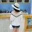 เสื้อแฟชั่นเกาหลี คอวีแต่งลูกไม้โครเชต์ สีขาว thumbnail 3