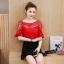 เสื้อแฟชั่นเกาหลี คอลูกไม้ แต่งแขนระบาย สีแดง thumbnail 4