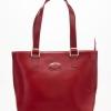 LDB9864 กระเป๋าหนังแท้ สายสะพายเข้าไหล่ ทรงช้อปปิ้ง สีแดง
