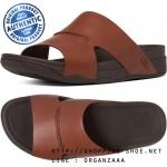 US10 : Fitflop Bando Leather Slide Dark Tan ของแท้ นำเข้าจาก USA และ UK