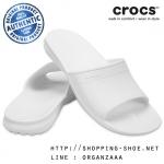 M8/W10 (27 cm.) : Crocs Classic Slide - White ของแท้ Outlet ไทยและอเมริกา